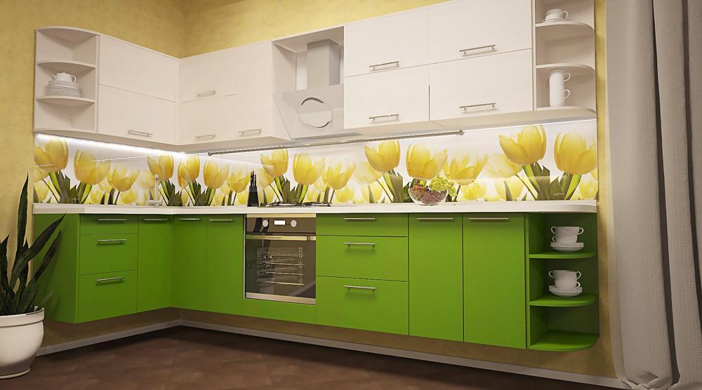 кухонный фартук из мдф с тюльпанами