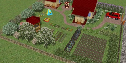 Вариант планировки дачного участка квадратной формы