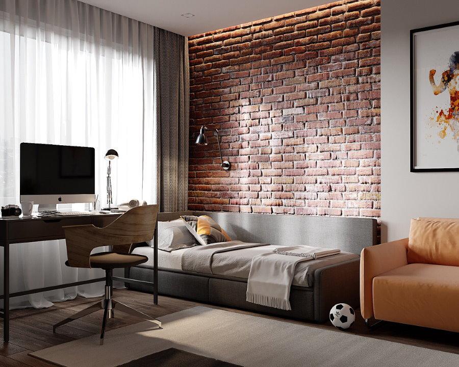 Интерьер подростковой комнаты в стиле лофт