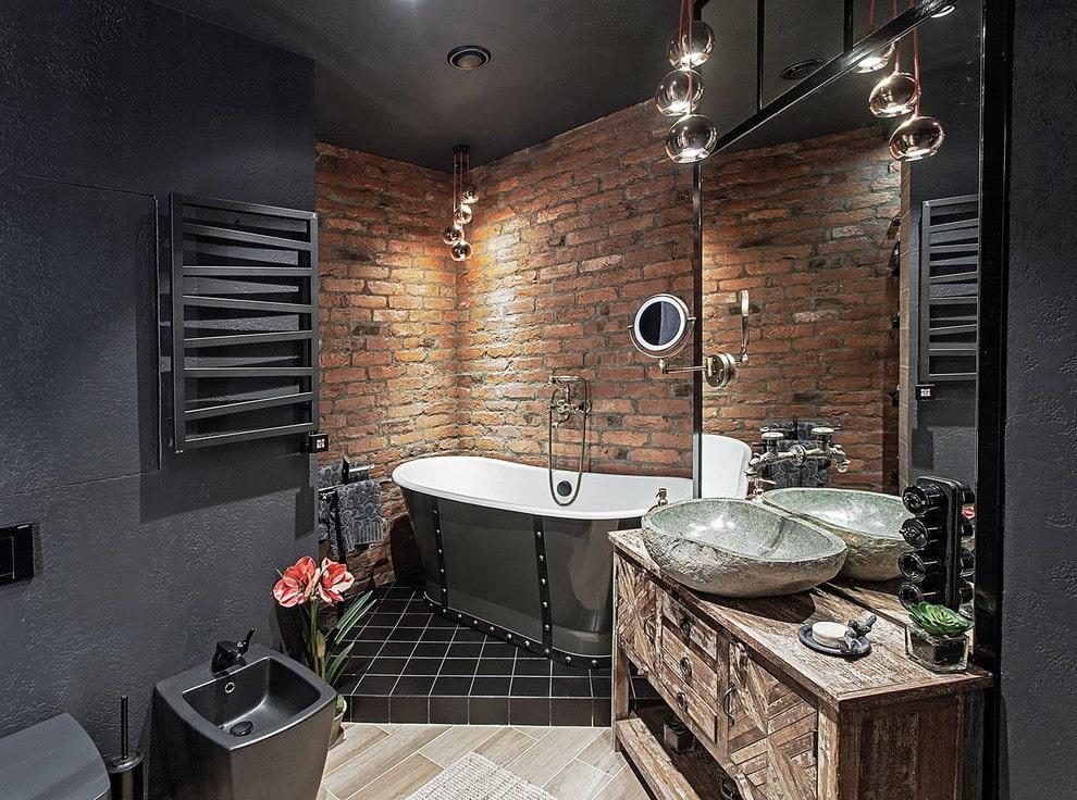 Совмещенная ванная комната в стиле лофта