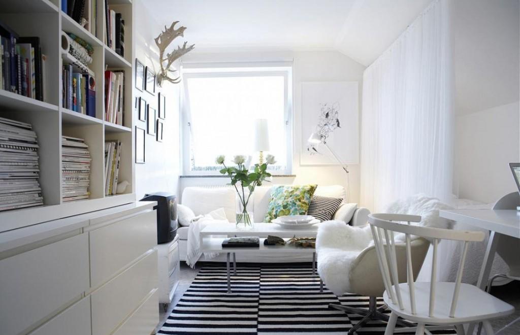Меблировка гостиной в белом цвете
