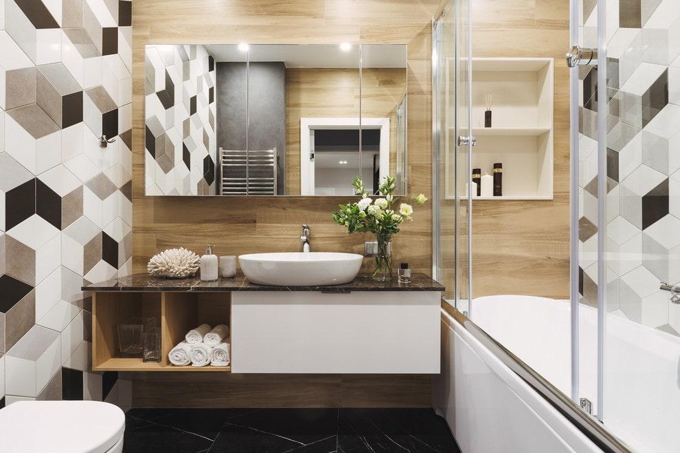Подвесная мебель в ванной небольшого размера