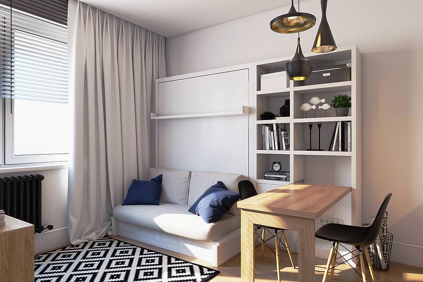 Каркасная мебель в тон стен гостиной комнаты
