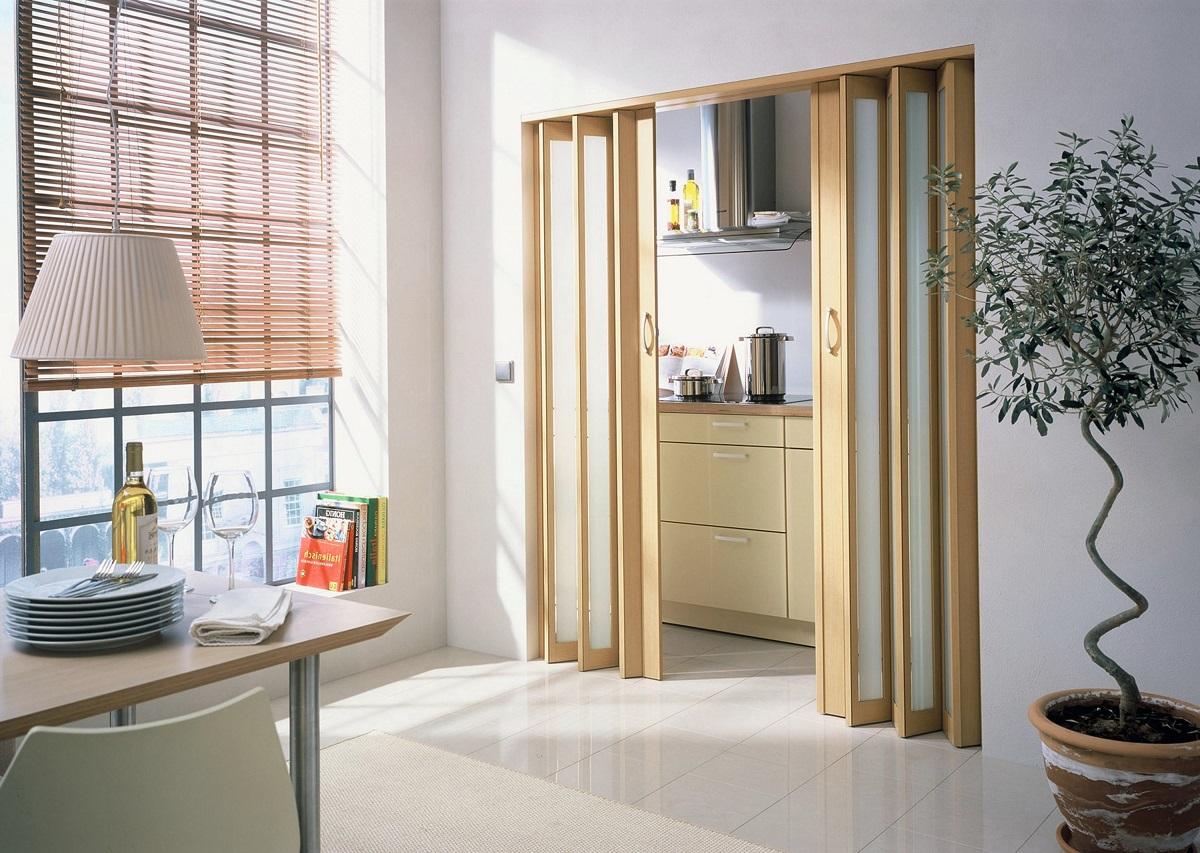 межкомнатные раскладные двери в интерьере