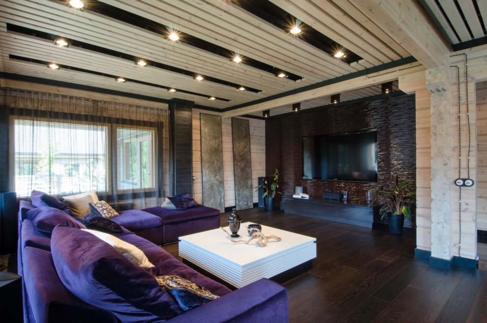 Интерьер зала в частном доме в стиле хай-тек