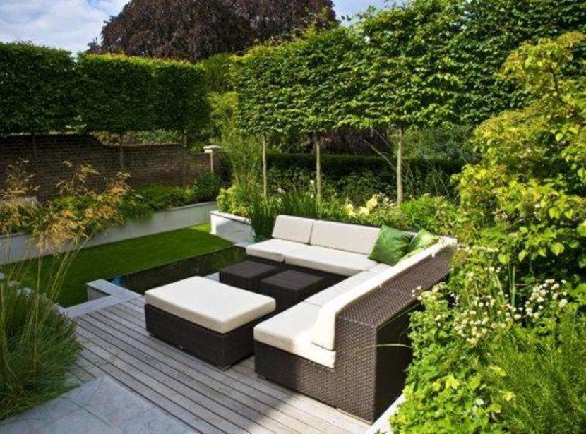 Оформление площадки в саду в стиле минимализма