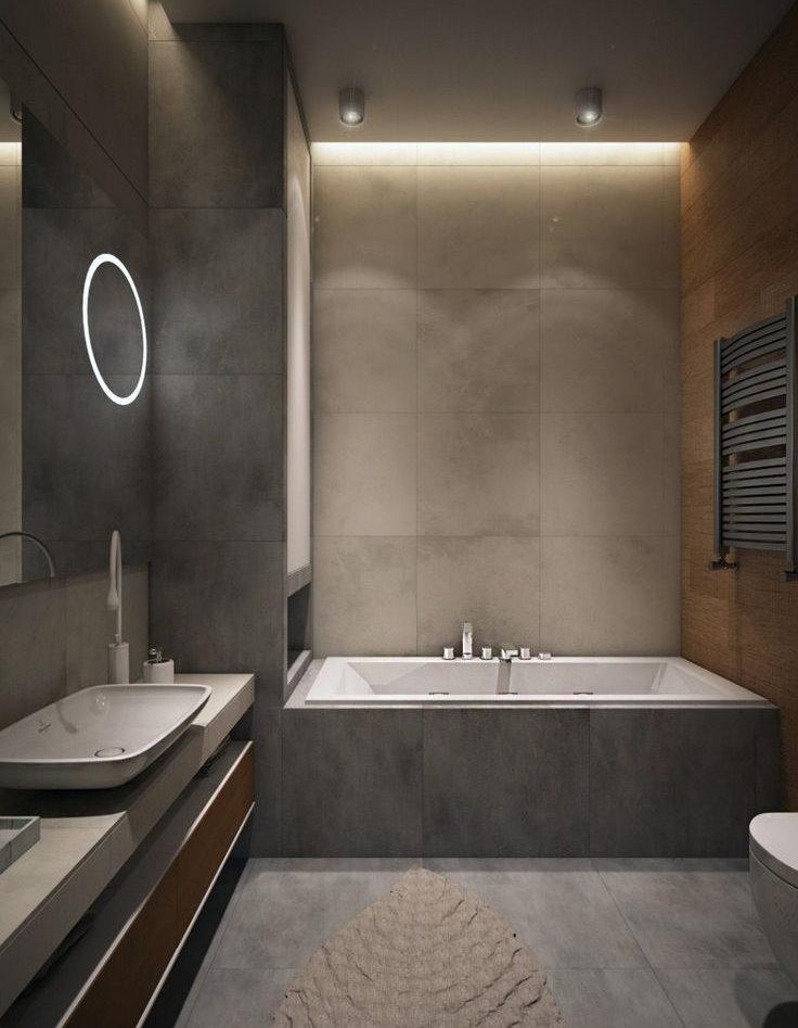 Серая плитка в ванной стиля минимализма
