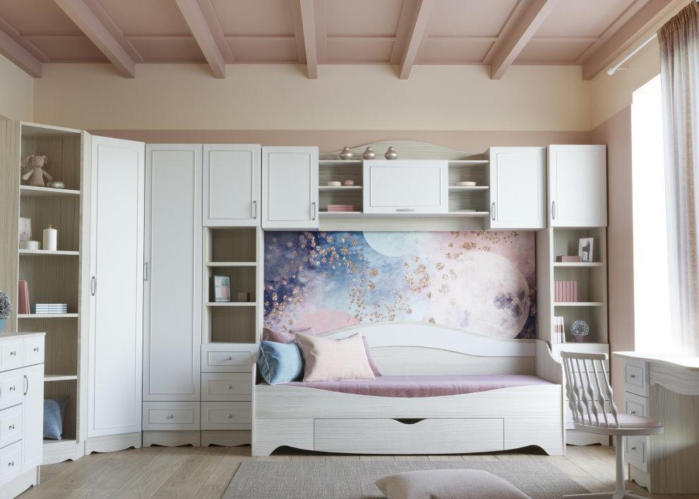 Модульная мебель в интерьере комнаты для девочки