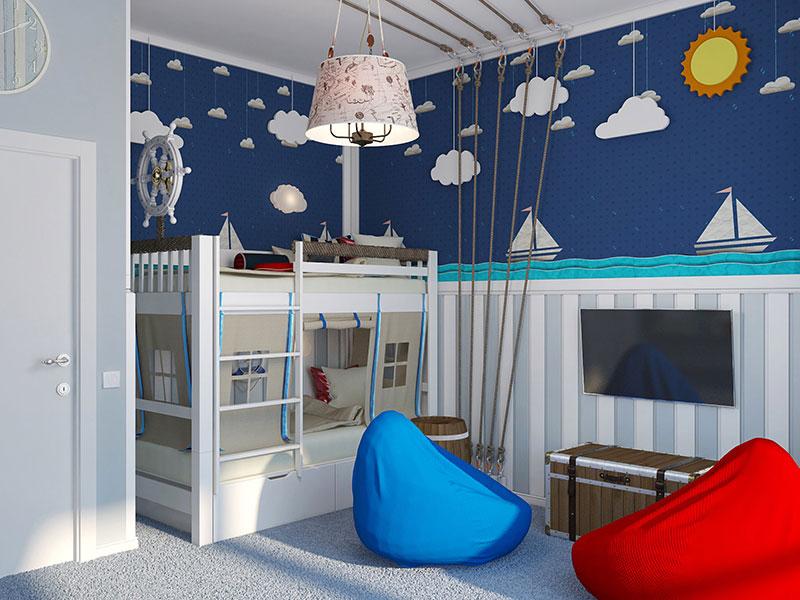 Оформление игровой комнаты для юного моряка