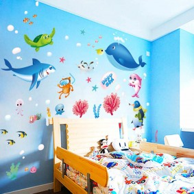 наклейки для детской комнаты интерьер фото