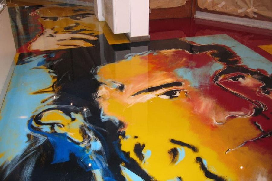 Наливной пол в квартире поп-арт стиля