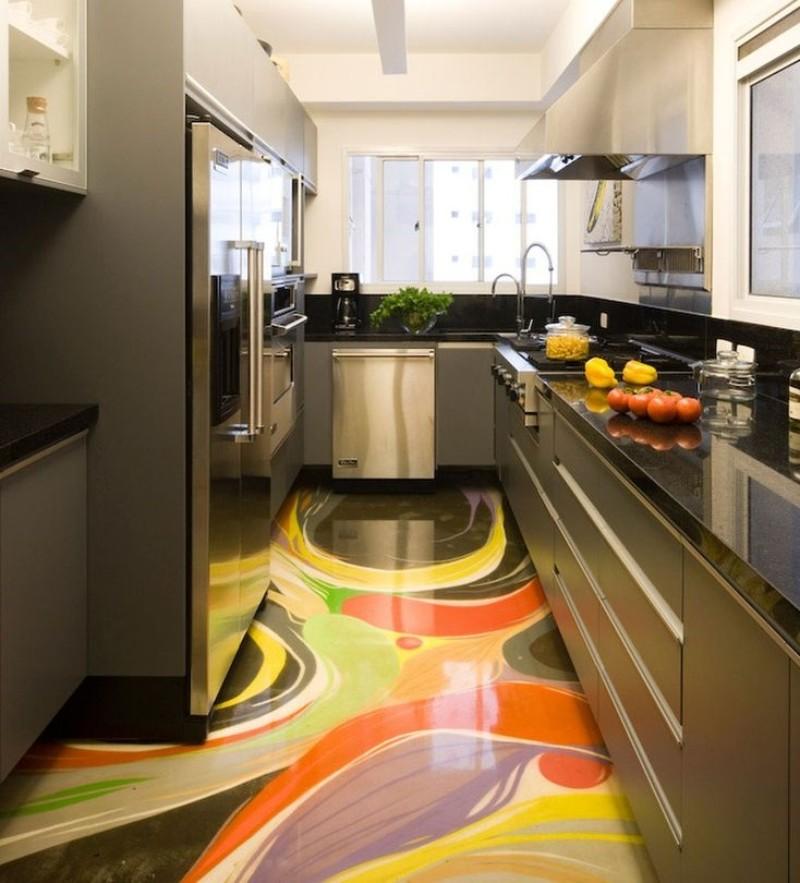 Яркий пол на кухне современного стиля