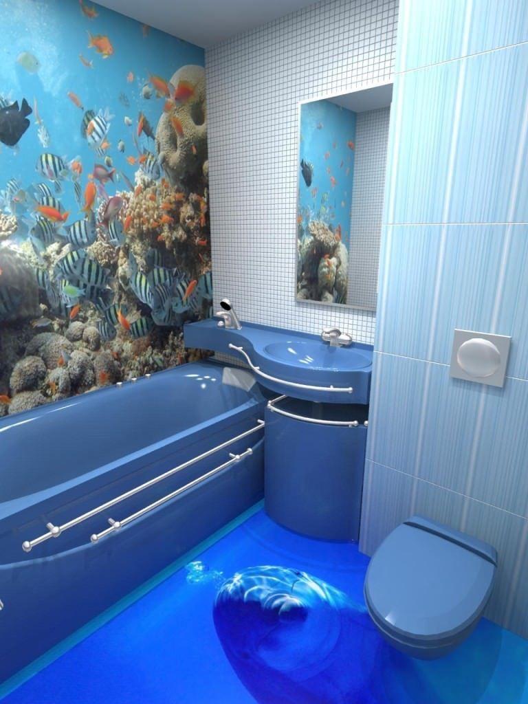 3d наливной пол в ванной морского стиля
