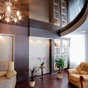 натяжной потолок в зале идеи дизайна