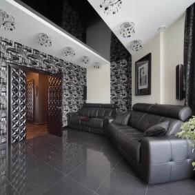 натяжной потолок в зале черно белый