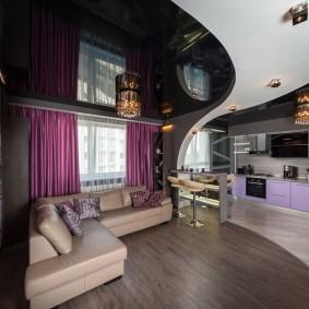 натяжной потолок в зале дизайн идеи