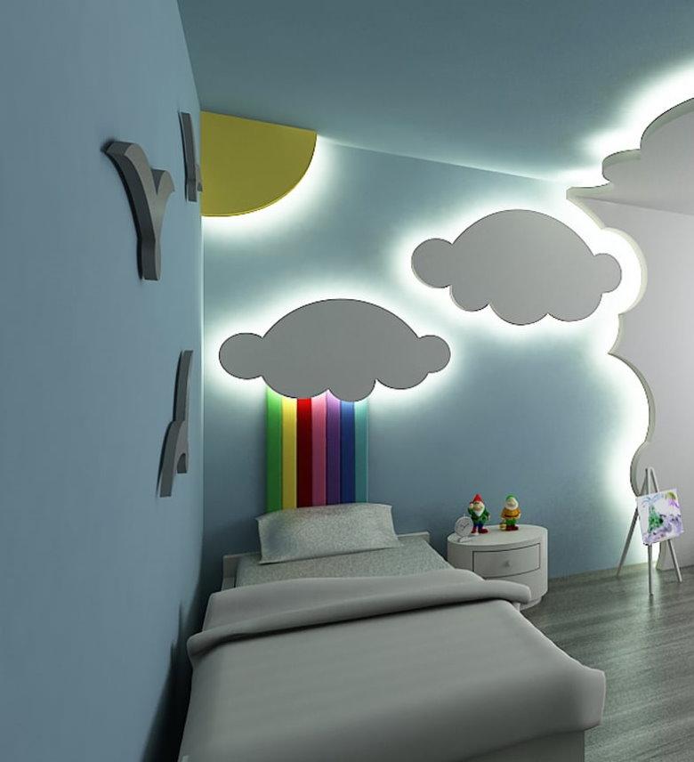 Облака с подсветкой в детской комнате