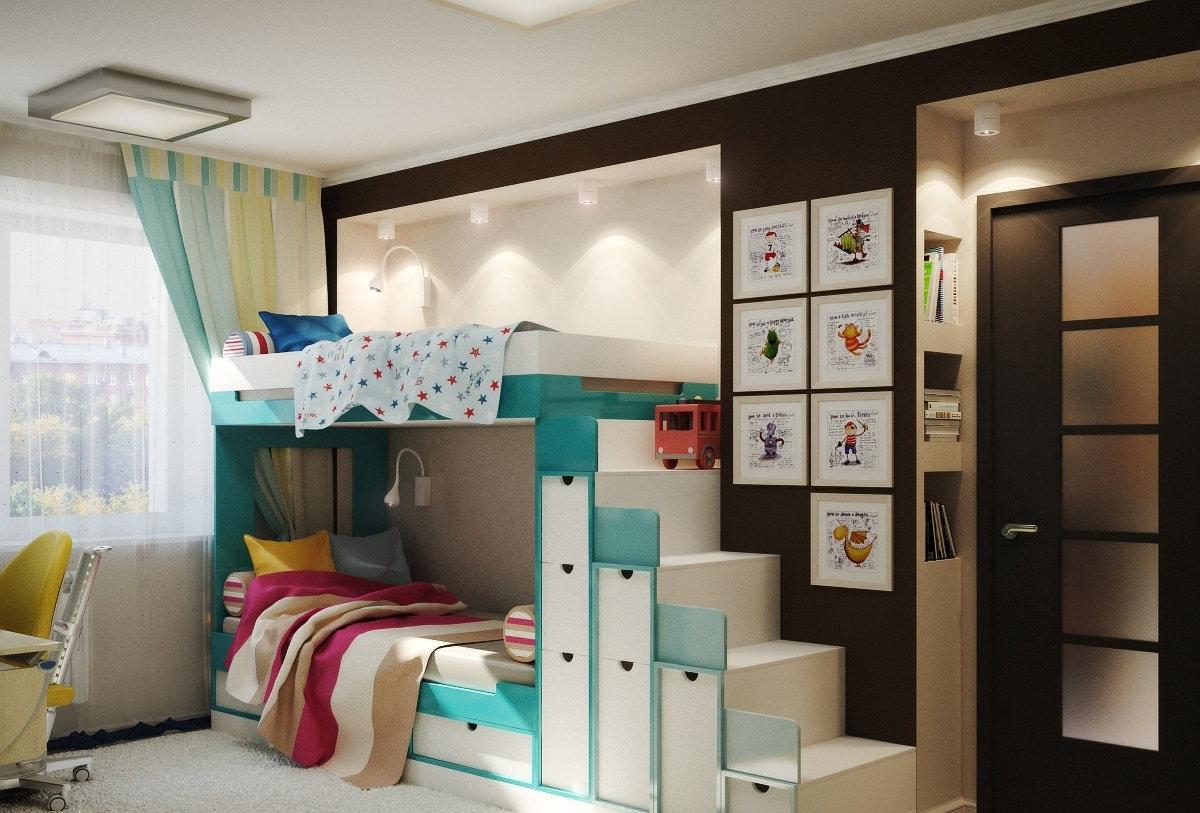 обустройство детской комнаты кровать с ящиками
