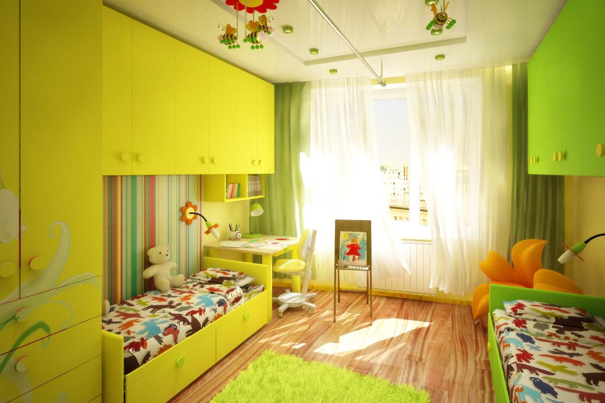 обустройство детской комнаты зонирование