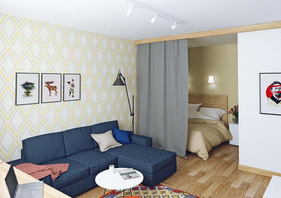 Спальня-гостиная однушки площадью 33 кв м