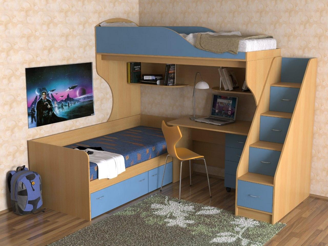 оформление детского уголка с учебной и спальной зонами
