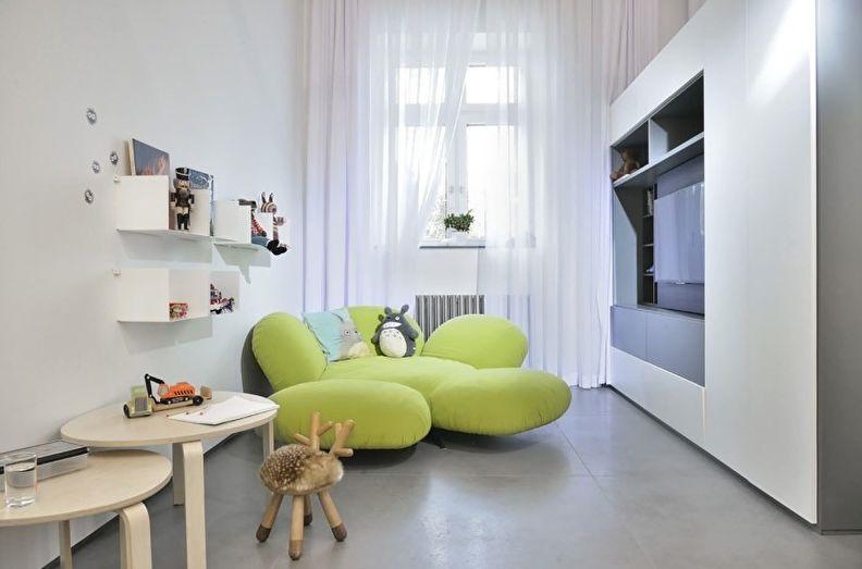 Светло-зеленая мебель в белой комнате