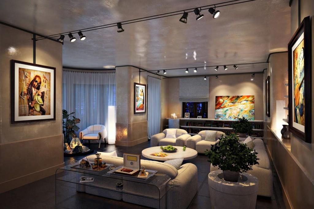Поворотные светильники на потолке квартиры в современном стиле