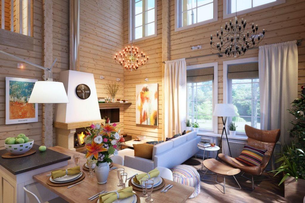 Люстры в интерьере гостиной деревянного дома