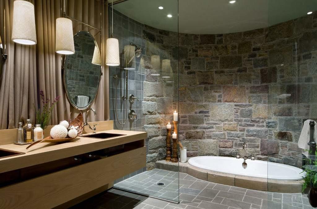 отделка ванной камнем