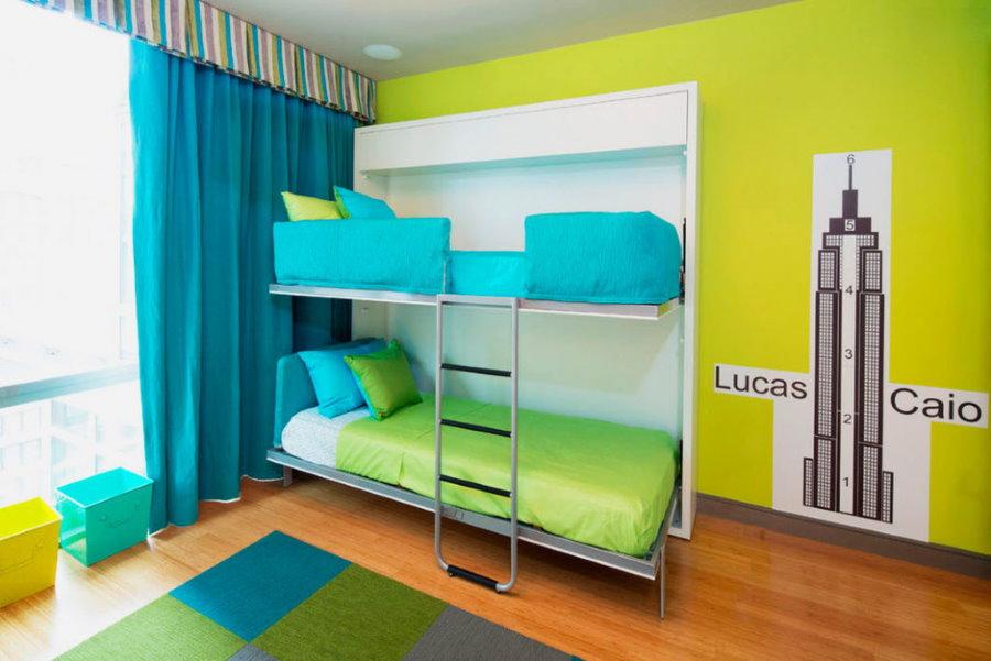 Откидные спальные места в современной детской комнате