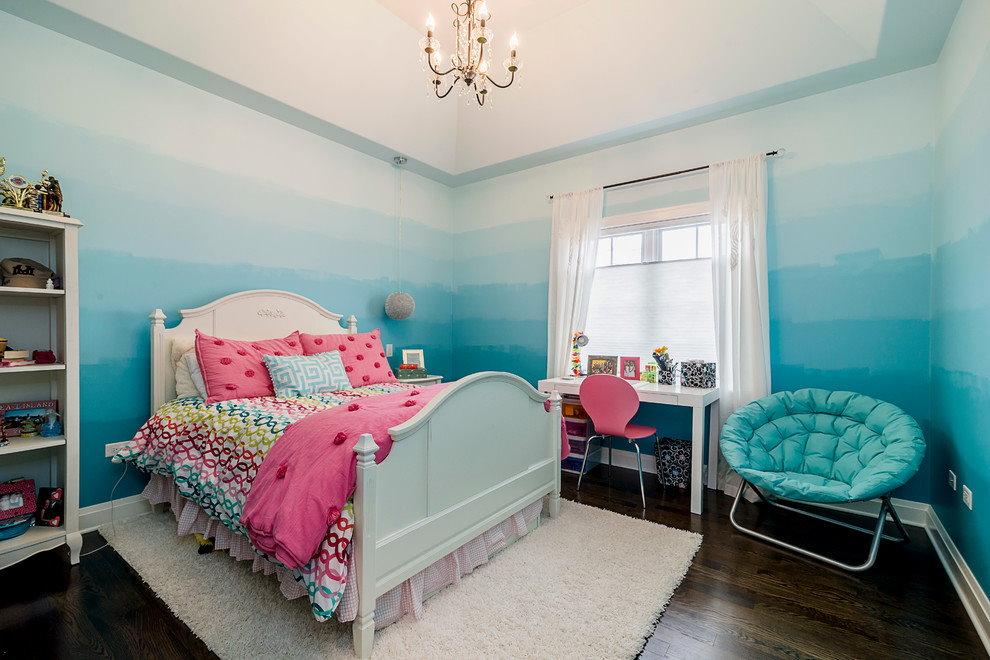 Покраска стен детской комнаты с переходом цвета