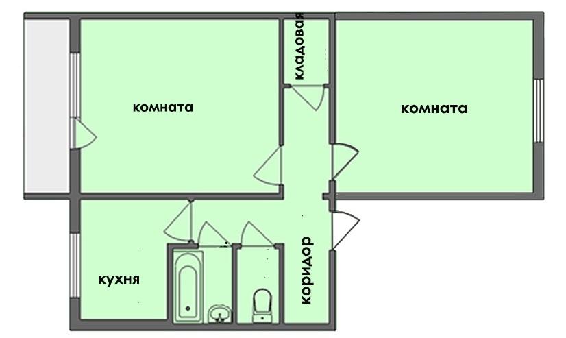 Планировка двухкомнатной квартиры-брежневки площадью 70 кв м