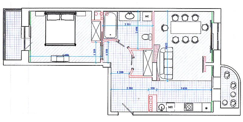 Схема квартиры распашонки после перепланировки