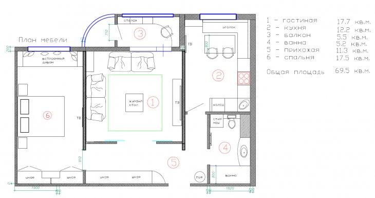 План трехкомнатной квартиры площадью около 70 кв метров