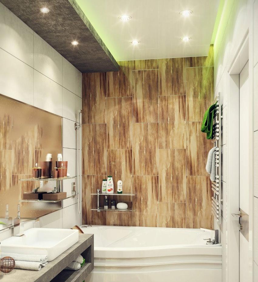 Плитка на стене ванной комнаты в стиле модерн