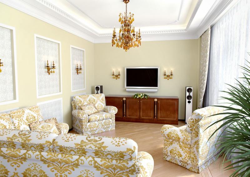 покраска стен в гостиной барокко