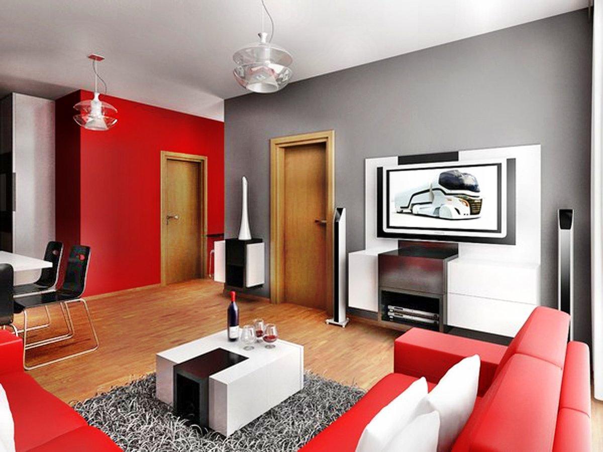 покраска стен в гостиной модерн