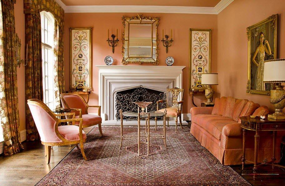 покраска стен в гостиной викторианский стиль