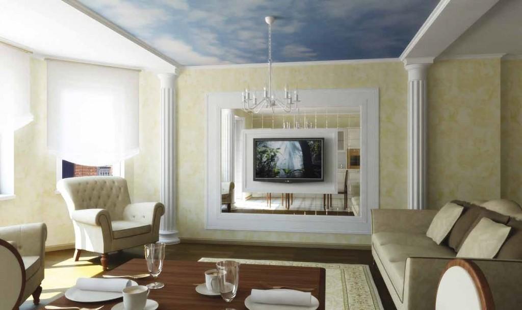 Полуколонны в интерьере гостиной комнаты