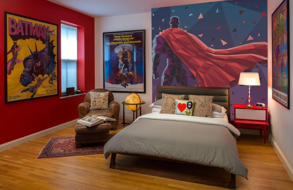 Декор детской спальни постерами на тему кинофильмов