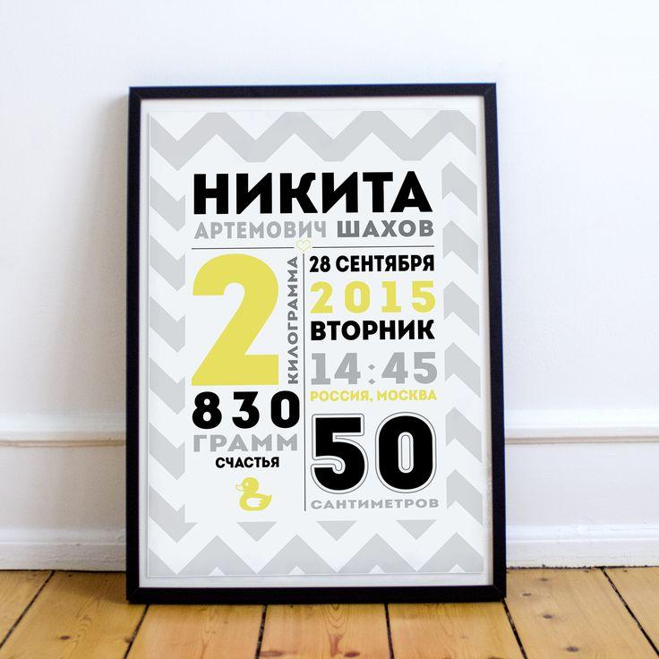 Постер-метрика в тонкой черной рамке