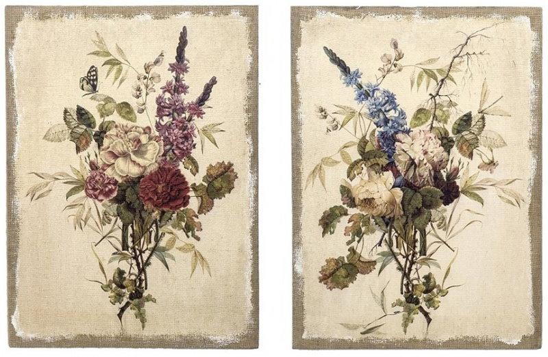 Букеты цветов на постерах для спальни в стиле прованс