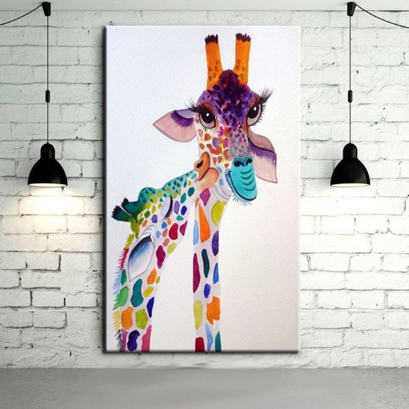Акварельный рисунок жирафа на детском постере