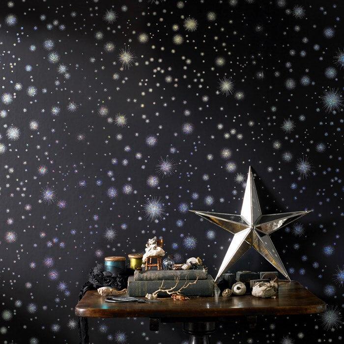 Фотообои звездное небо на стене детской комнаты