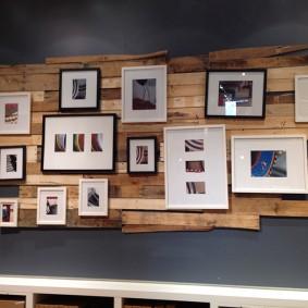 Коллекция фото на деревянных рейках