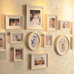 Семейная колекция фото в рамках разной формы