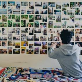 Украшение стены фотографиями своими руками