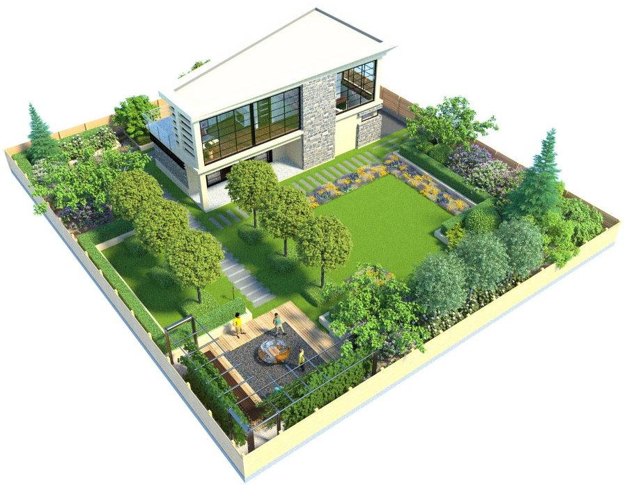 Проект загородного участка 4 сотки с домом
