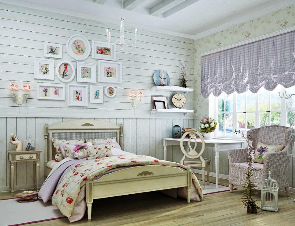 Деревянная кровать на тонких ножках в комнате девочки