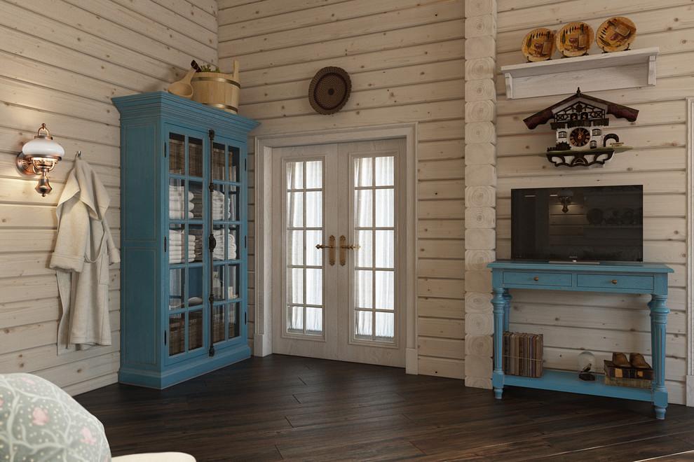Голубая мебель в деревянном доме из бруса